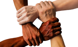 Picture of four hands connected to form a square to symbolize unity