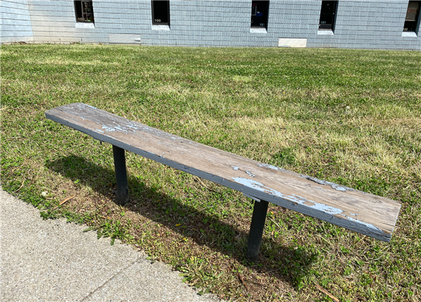 Bench with chipped paint