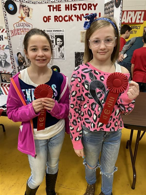 Makenna Hayes and Evee Matheny win 2nd place at County Social Studies Fair-History of Rock N Roll