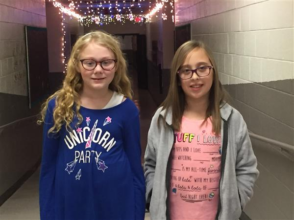 5th grade  student Emily Nelson and 4th grade student Bryleigh Fletcher school spelling champs
